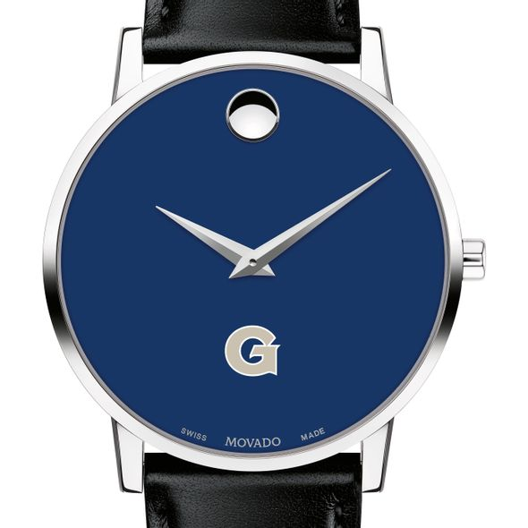 Georgetown University Men's Movado Museum with Blue Dial & Leather Strap