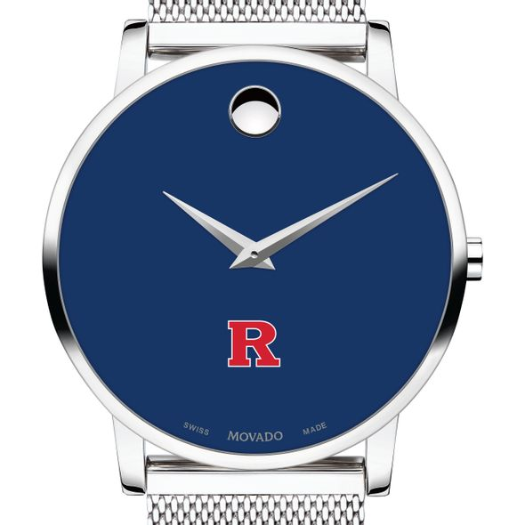 Rutgers University Men's Movado Museum with Blue Dial & Mesh Bracelet