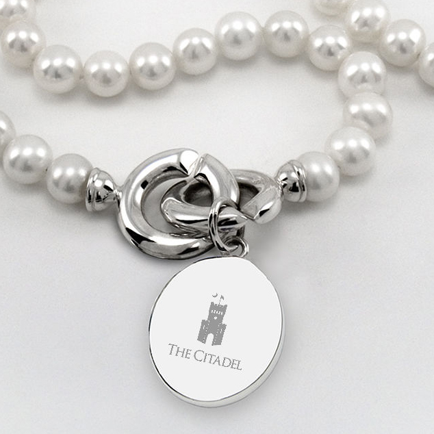 Citadel Pearl Necklace with Sterling Silver Charm - Image 2
