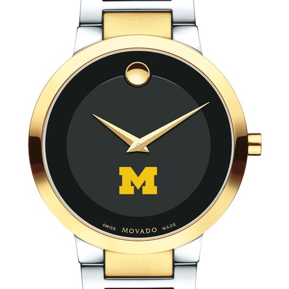 University of Michigan Men's Movado Two-Tone Modern Classic Museum with Bracelet