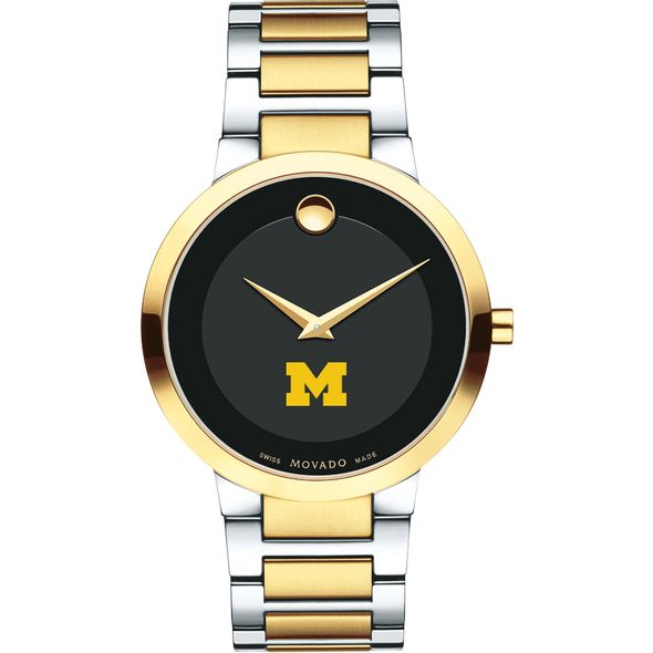 University of Michigan Men's Movado Two-Tone Modern Classic Museum with Bracelet - Image 2