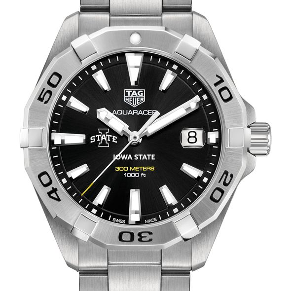 Iowa State University Men's TAG Heuer Steel Aquaracer with Black Dial