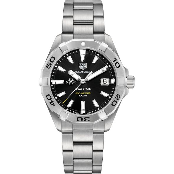 Iowa State University Men's TAG Heuer Steel Aquaracer with Black Dial - Image 2