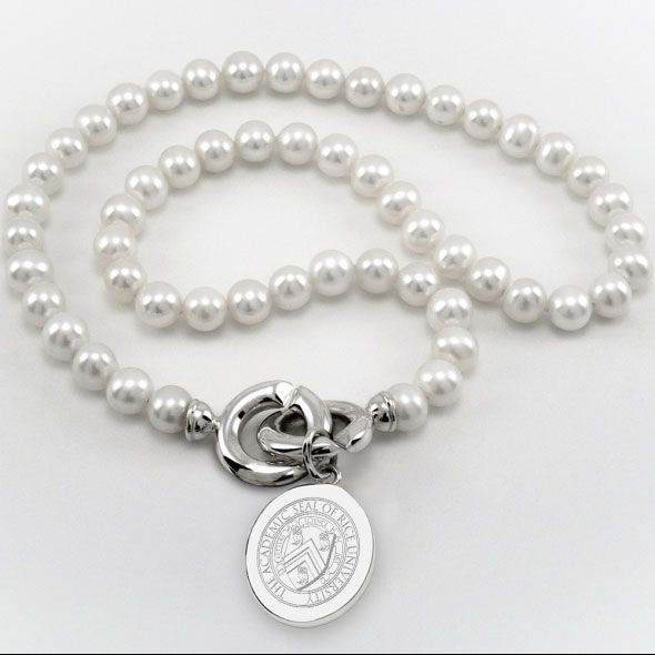 Rice University Pearl Necklace with Sterling Silver Charm - Image 1
