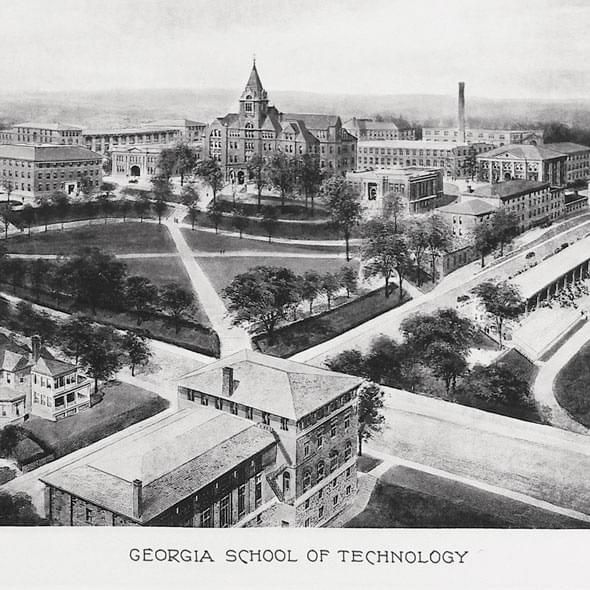 Historic Georgia Tech Black and White Print - Image 2