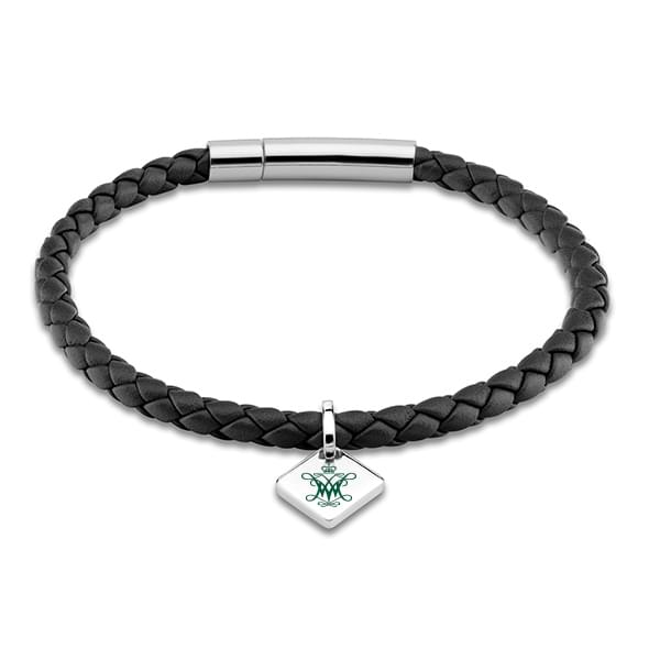 College of William & Mary Leather Bracelet with Sterling Silver Tag - Black