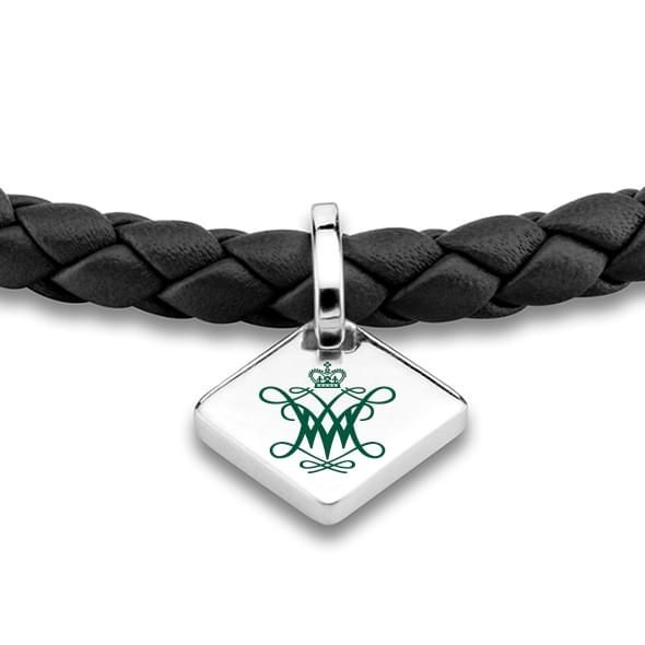 College of William & Mary Leather Bracelet with Sterling Silver Tag - Black - Image 2