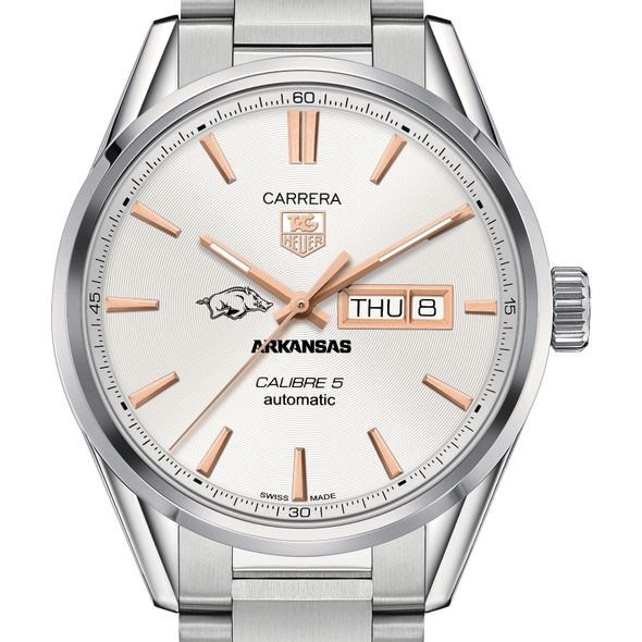 University of Arkansas Men's TAG Heuer Day/Date Carrera with Silver Dial & Bracelet