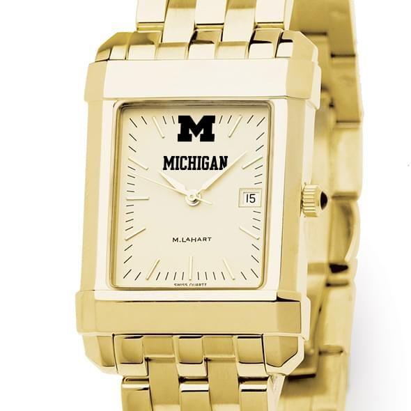 Michigan Men's Gold Quad Watch with Bracelet