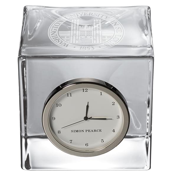 WUSTL Glass Desk Clock by Simon Pearce - Image 2