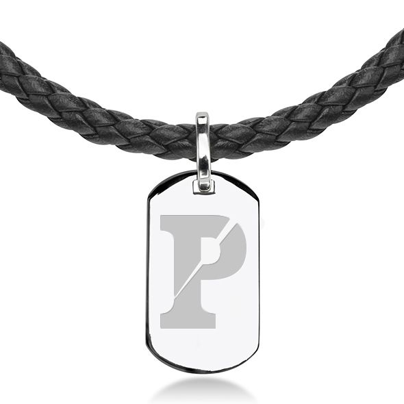 University of Pennsylvania Leather Necklace with Sterling Dog Tag - Image 2