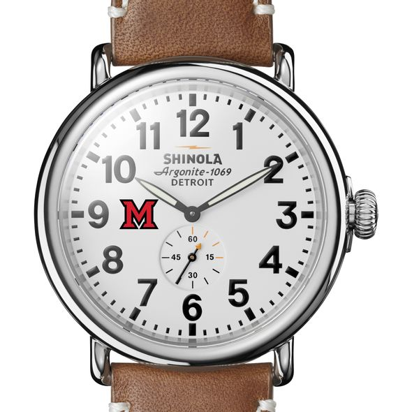 Miami University Shinola Watch, The Runwell 47mm White Dial