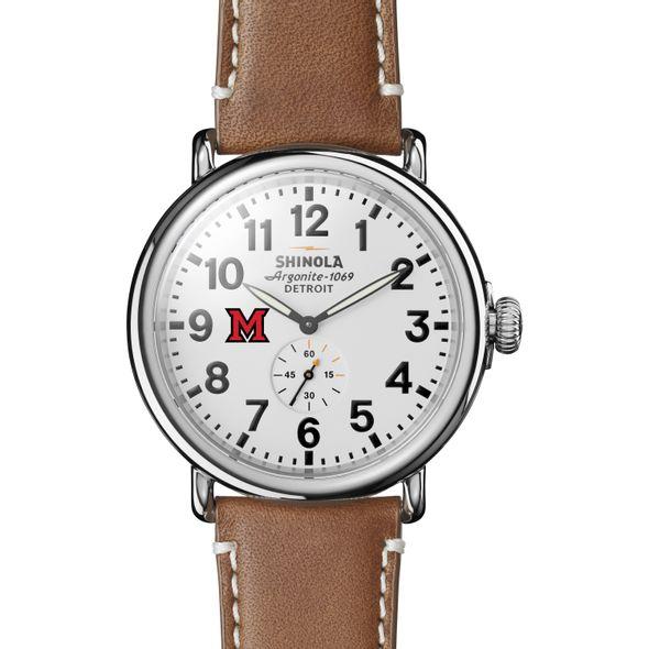 Miami University Shinola Watch, The Runwell 47mm White Dial - Image 2