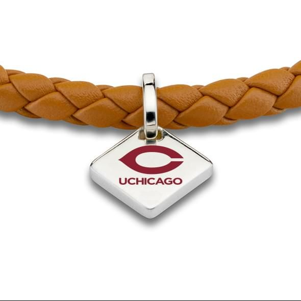 Chicago Leather Bracelet with Sterling Silver Tag - Saddle - Image 2