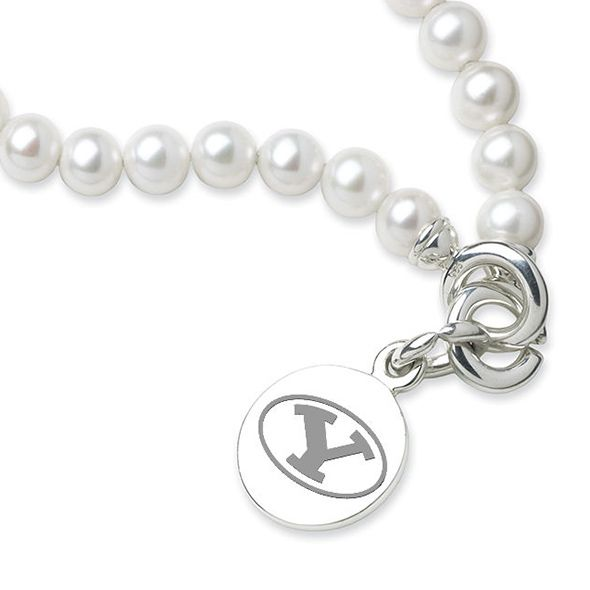 Brigham Young University Pearl Bracelet with Sterling Silver Charm - Image 2