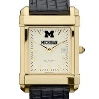 Michigan Men's Gold Quad Watch with Leather Strap