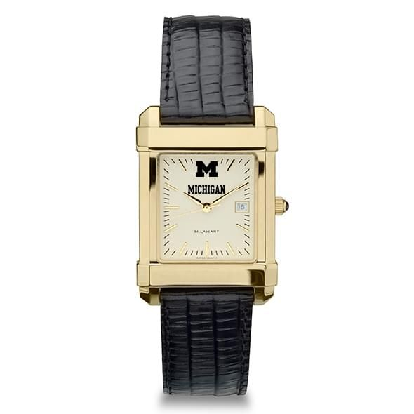 Michigan Men's Gold Quad Watch with Leather Strap - Image 2