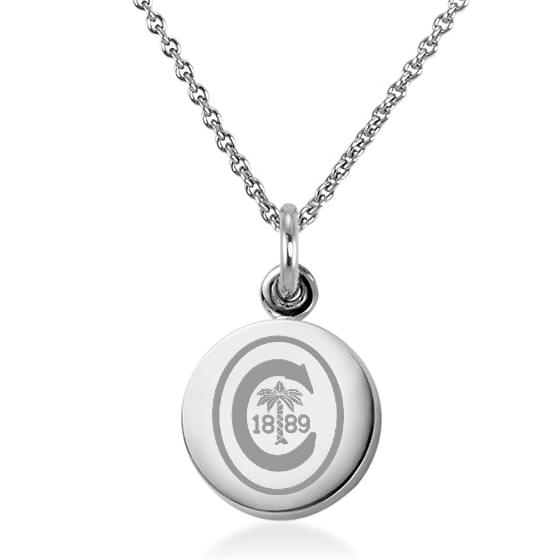 Clemson Necklace with Charm in Sterling Silver