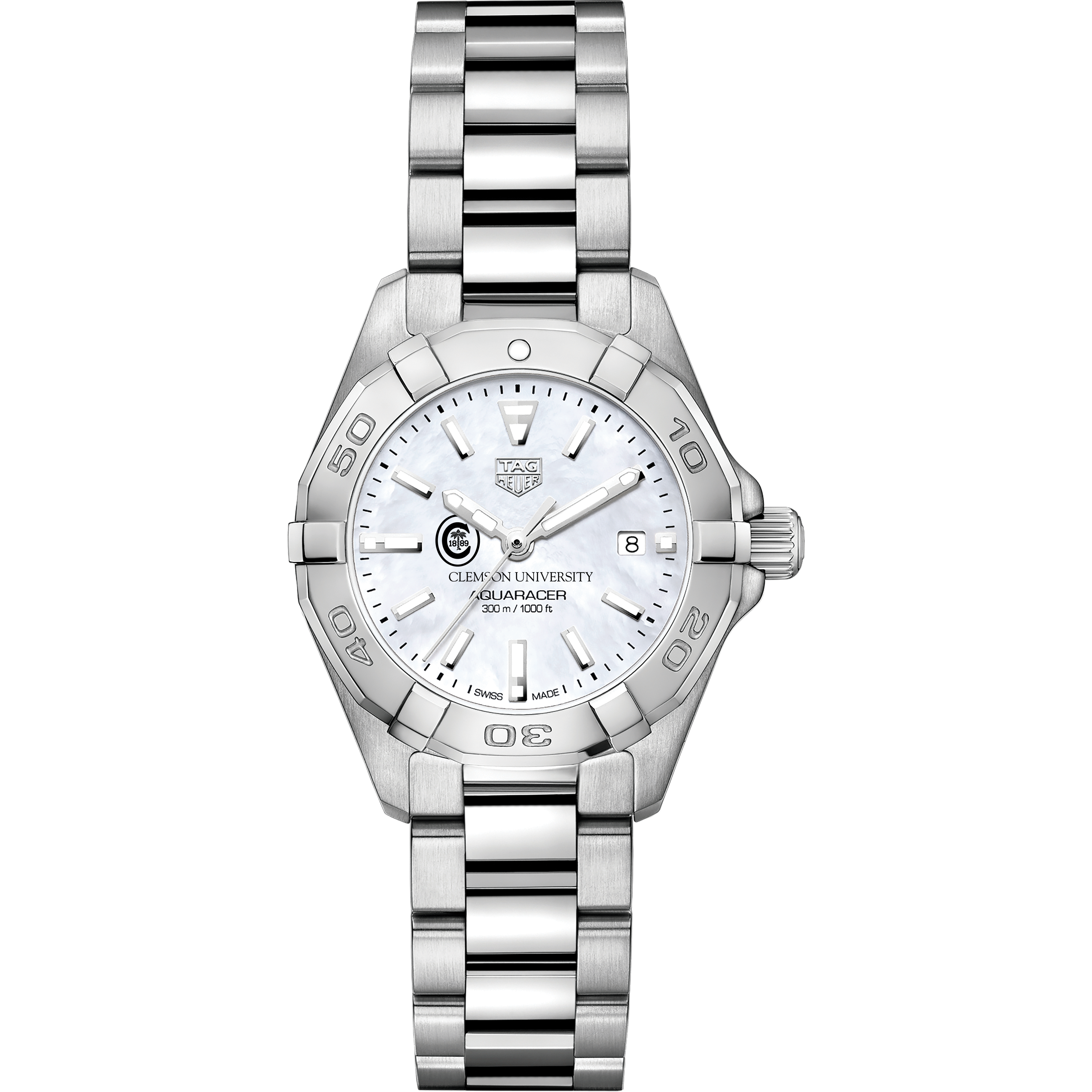 Clemson Women's TAG Heuer Steel Aquaracer with MOP Dial - Image 2