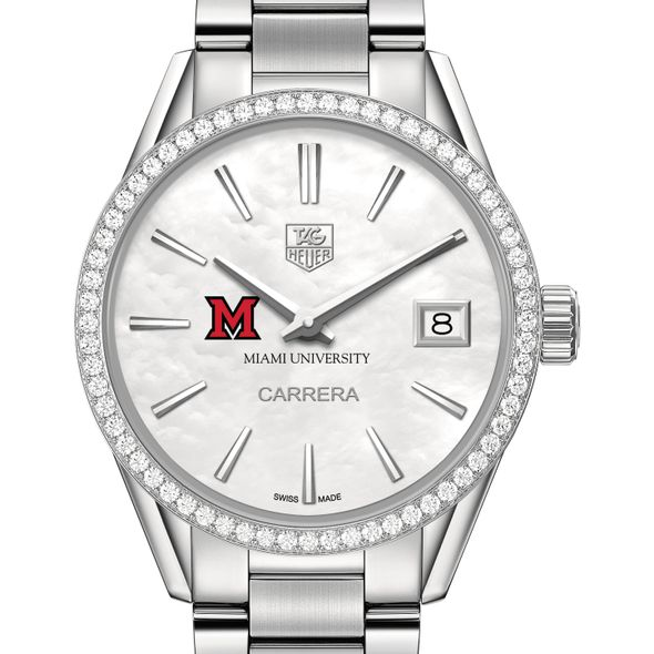 Miami University Women's TAG Heuer Steel Carrera with MOP Dial & Diamond Bezel - Image 1
