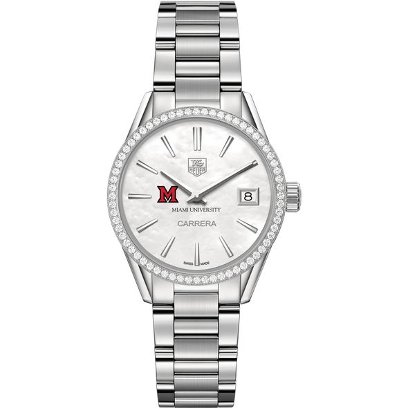 Miami University Women's TAG Heuer Steel Carrera with MOP Dial & Diamond Bezel - Image 2