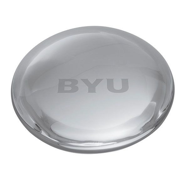 Brigham Young University Glass Dome Paperweight by Simon Pearce