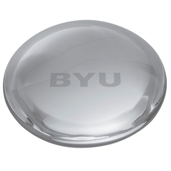 Brigham Young University Glass Dome Paperweight by Simon Pearce - Image 2