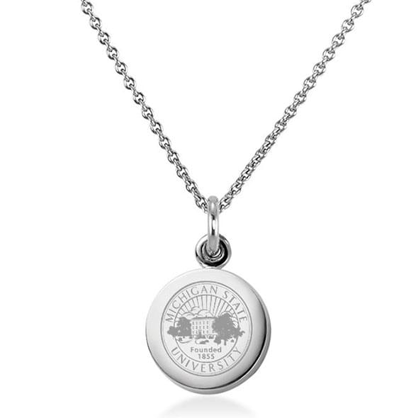 Michigan State University Necklace with Charm in Sterling Silver