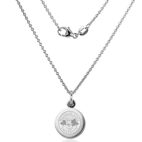 Michigan State University Necklace with Charm in Sterling Silver - Image 2