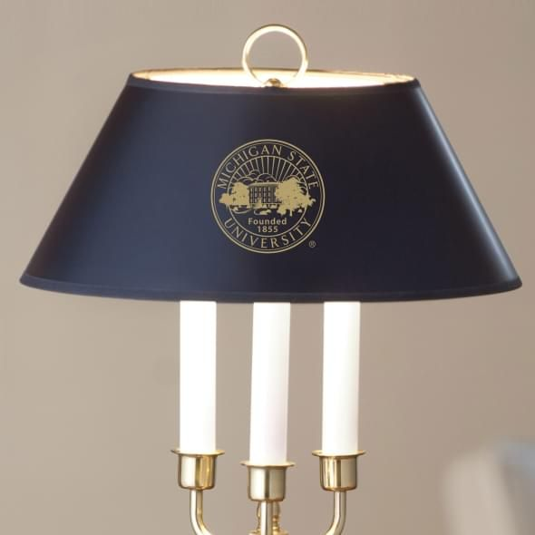 Michigan State University Lamp in Brass & Marble - Image 2