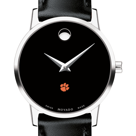 Clemson Women's Movado Museum with Leather Strap