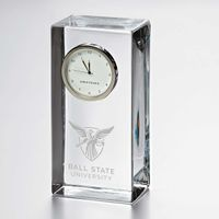 Ball State Tall Glass Desk Clock by Simon Pearce