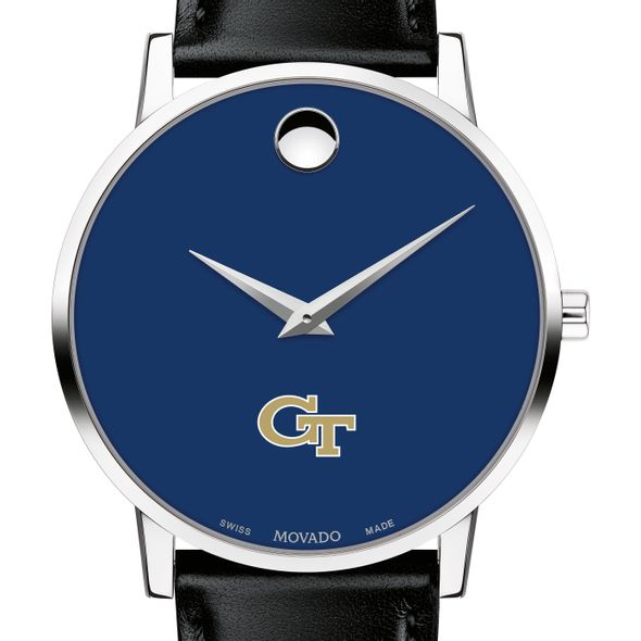 Georgia Tech Men's Movado Museum with Blue Dial & Leather Strap