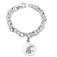 Washington State University Sterling Silver Charm Bracelet