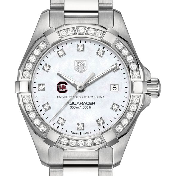 University of South Carolina W's TAG Heuer Steel Aquaracer with MOP Dia Dial & Bezel