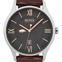 University of Arkansas Men's BOSS Classic with Leather Strap from M.LaHart