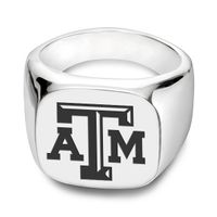 Texas A&M University Sterling Silver Square Cushion Ring