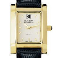 Boston University Women's Gold Quad with Leather Strap