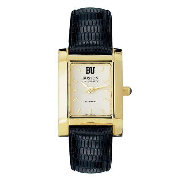 Boston University Women's Gold Quad with Leather Strap - Image 2