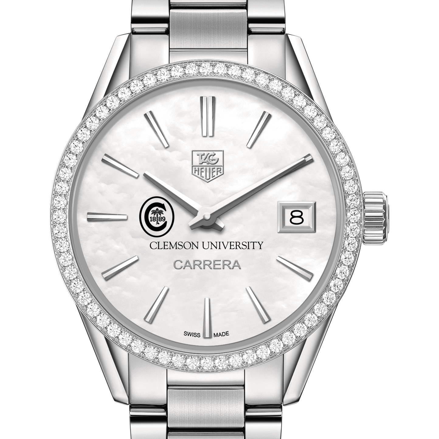 Clemson Women's TAG Heuer Steel Carrera with MOP Dial & Diamond Bezel