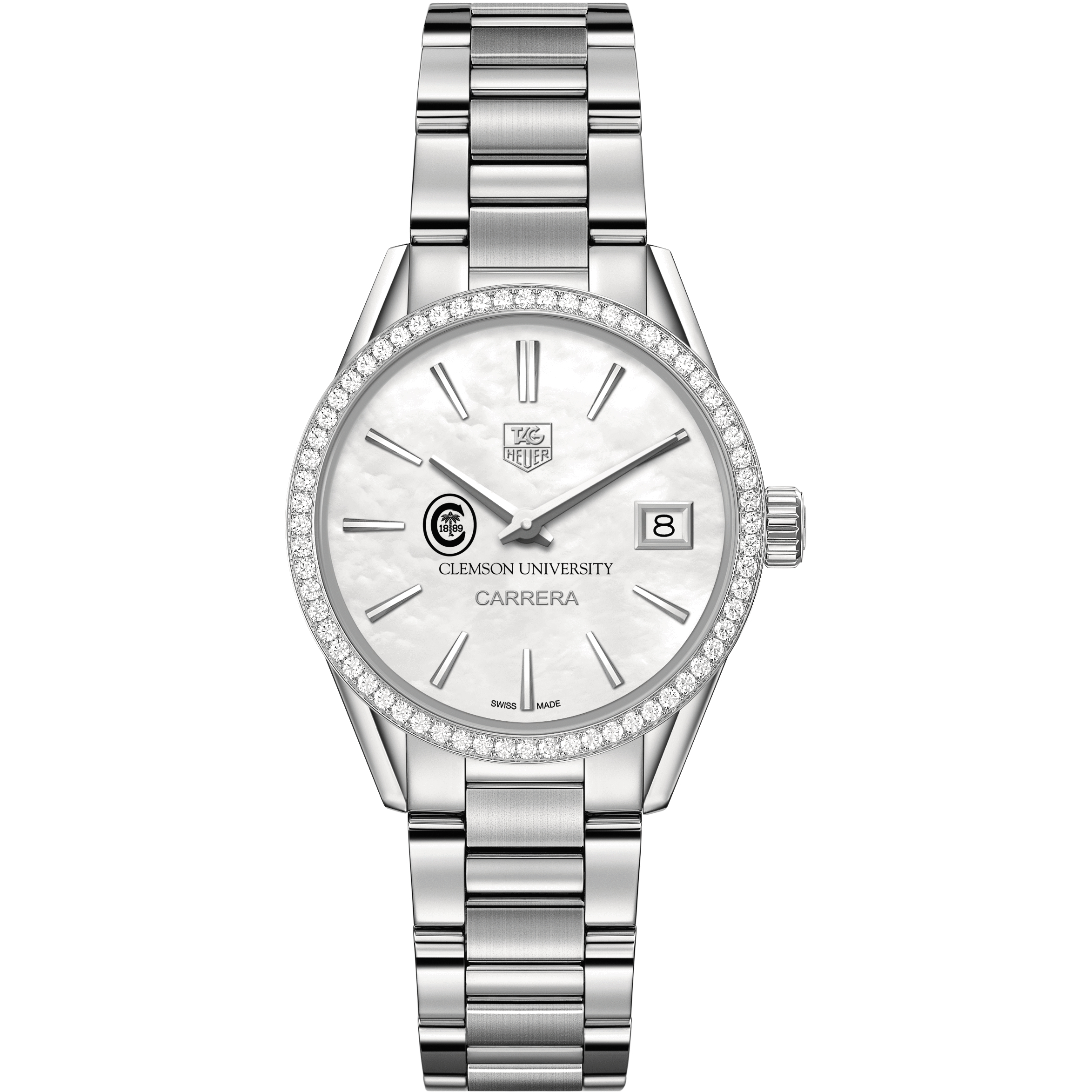 Clemson Women's TAG Heuer Steel Carrera with MOP Dial & Diamond Bezel - Image 2