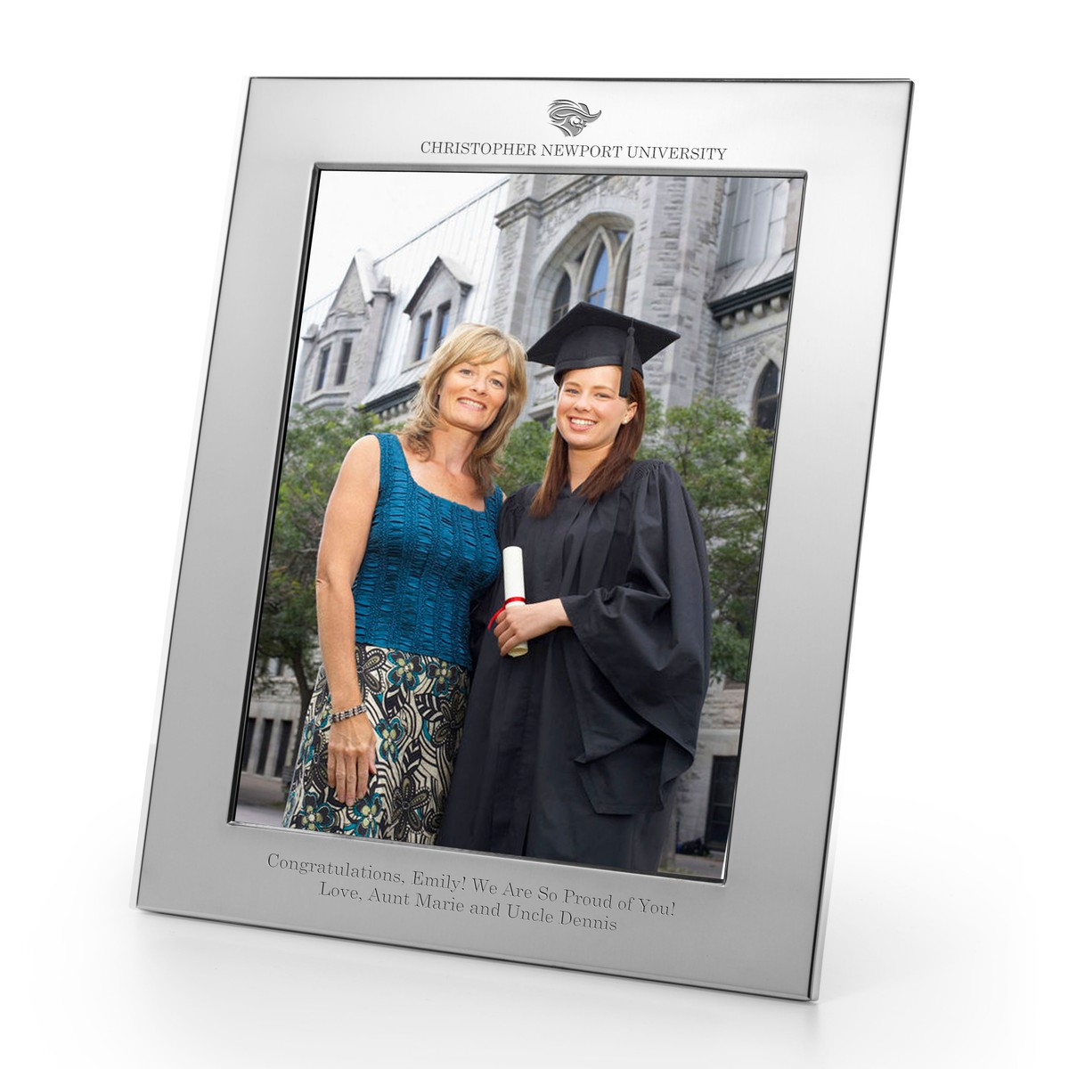 Christopher Newport University Polished Pewter 8x10 Picture Frame Graduation Gift Selection
