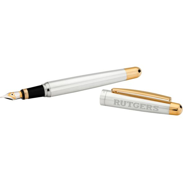 Rutgers University Fountain Pen in Sterling Silver with Gold Trim