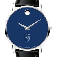 Emory University Men's Movado Museum with Blue Dial & Leather Strap