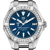 Temple Women's TAG Heuer 35mm Steel Aquaracer with Blue Dial