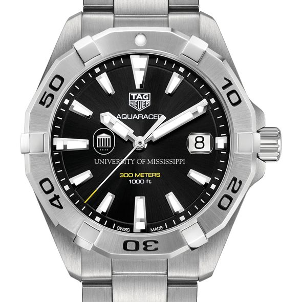 University of Mississippi Men's TAG Heuer Steel Aquaracer with Black Dial