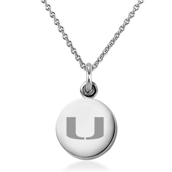 University of Miami Necklace with Charm in Sterling Silver - Image 1