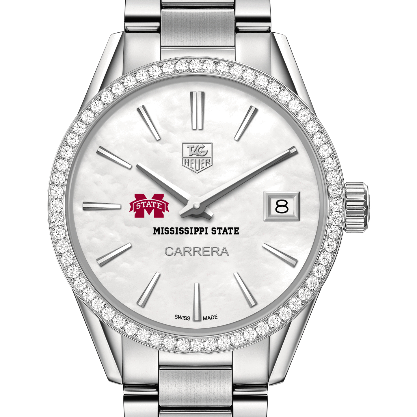 Mississippi State Women's TAG Heuer Steel Carrera with MOP Dial & Diamond Bezel - Image 1