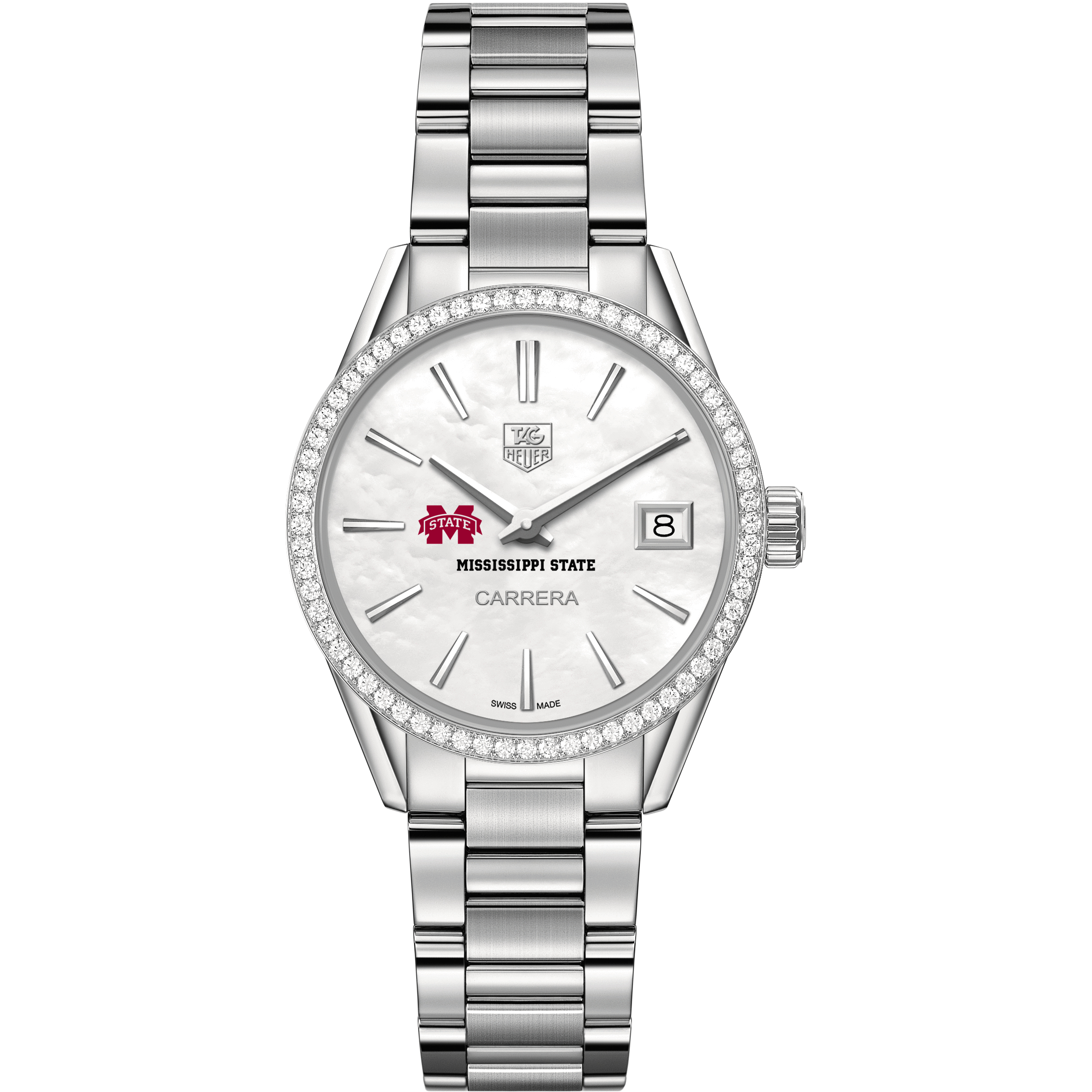 Mississippi State Women's TAG Heuer Steel Carrera with MOP Dial & Diamond Bezel - Image 2