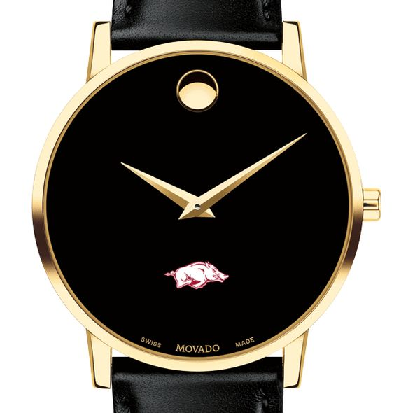 University of Arkansas Men's Movado Gold Museum Classic Leather